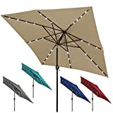 Blissun Square Patio Umbrella with 28 LED Lights, Solar Umbrella Table Market Umbrella with Tilt and Crank Outdoor Umbrella for Garden, Deck, Backyard, Pool and Beach, Tan