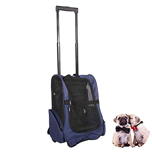 Pet Rolling Carrier Backpack Wheel Around 4-in-1 Pet Travel Carrier,Airline Approve Dog Carrier for Small Pet for Indoor & Outdoor Use (19