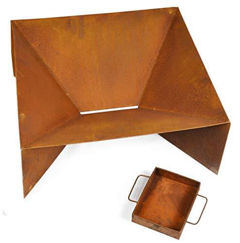 Möbelbörse Feuerschale Feuerstelle Terassenfeuer Feuerkorb Metall Rost-Optik 60x60x25cm