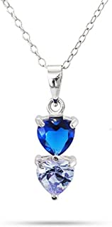"""Sterling Silver Personalized 2 Stone Custom Simulated Birthstone Heart Drop Pendant Necklace, 16"""""""