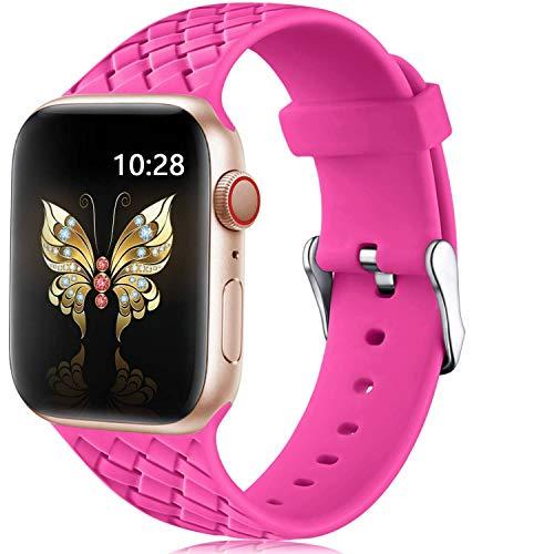 JWWLLT Aplicar a la Correa de Silicona para la Banda de Reloj de Apple 44 mm 40 mm 38 42 mm Serie 5 4 3 2 1 Patrón Tejido Accesorios de Pulsera Iwatch Band 42mm 38mm