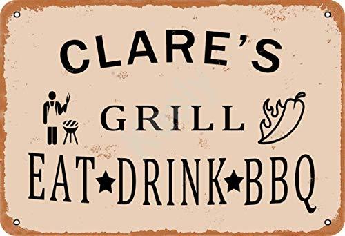 Keely Clare'S Grill Eat Drink BBQ Metall Vintage Zinn Zeichen Wanddekoration 12x8 Zoll für Cafe Coffee Bars Restaurants Pubs Man Cave Dekorativ