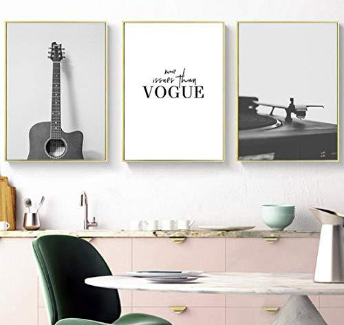 DMPro Modern Black White Musical Instrument, kunst, canvas schilderij, gitaar, posters, muur, voor muziek, klassiek, decoratie thuis, 40 x 50 cm, geen lijst x 3