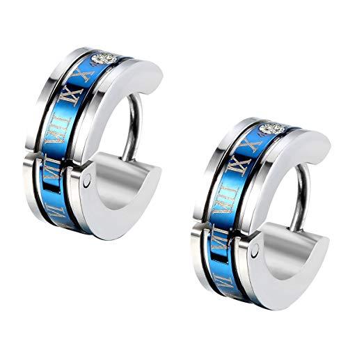 Flongo Pendientes de aros para hombre mujer, Pendientes de acero inoxidable con numeros romanos, Aretes pequeños con brillante 3 pares (Azul-2)