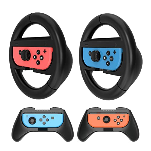 HEYSTOP Grip Kit Compatible with Nintendo Switch & 2021 OLED Model Joy-Con Controller Racing Switch Steering Wheel - 4 Pack, Comfort Handle for Kids Family Fun Special for Mario Kart 8 Deluxe (Black)