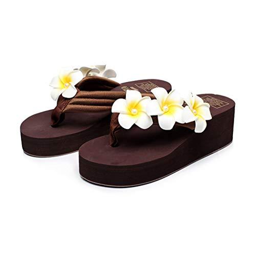 Sandalen Hausschuhe Frauen tragen Sommermode koreanische Strandschuhe Wedges Flippers Hausschuhe Seaside Vacation Out Flip-Flops (Color : Brown, Size : 39-245mm)