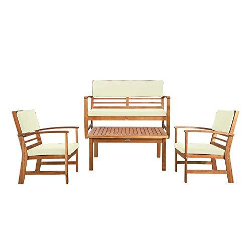 Aktive Garden 61001 - Conjunto jardín en madera de Acacia con mesa, banco y 2 sillones