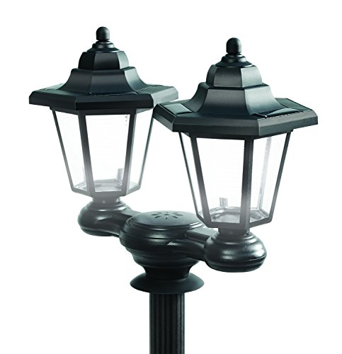 3 in 1 Solar LED Lamp Post Rechargeable Patio Outdoor Garden Security Bulb Clear Lantern White Night Path Bollard 1.5M Tall Black