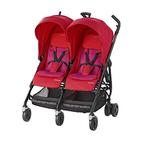 Maxi-Cosi Dana For zwei Zwillingskinderwagen, kompakter Geschwisterwagen, nutzbar ab der Geburt bis 3,5 Jahre (0-15 kf), kompatibel mit allen Maxi-Cosi Babyschalen, red orchid