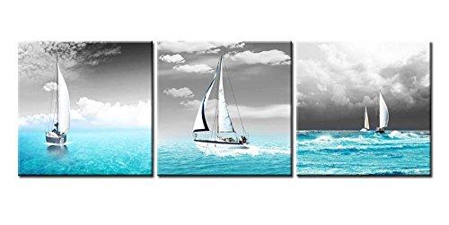 So Crazy Art Barco de Vela Cuadros en Lienzo Mar Azul Decoracion de Pared 3 Piezas Modernos Paisaje Mural Fotos para Salon,Dormitorio,Baño,Comedor