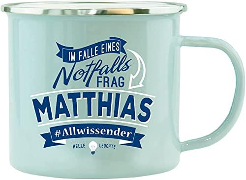 History & Heraldry Echter Kerl - Emaille Becher Matthias - individuelle Tasse mit Name und Spruch
