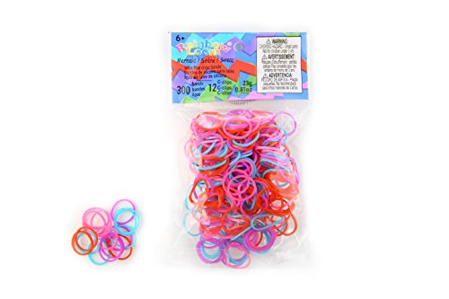 Official Rainbow Loom 300 Ct. SILICONE Rubber Band Refill Pack MERMAID THEME [Includes 12 C-Clips!]