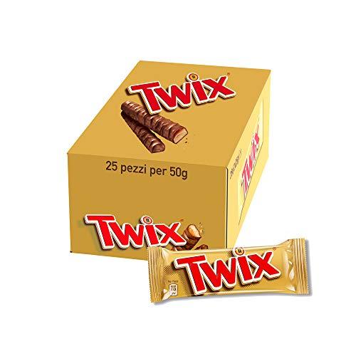 Twix Chocolatina Con Galleta Crujiente Y Suave Recubiertos De Chocolate Con Leche, En Barrita Doble ( Chocolatinas X 50g), Caramelo, 25 Unidad