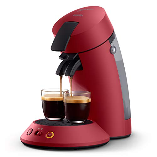 Philips Senseo Original Plus CSA210/90 - Cafetera de monodosis (selección de intensidad, tecnología Boost, plástico reciclado), color rojo