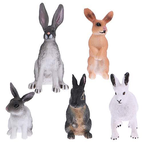 Tomaibaby 5Pcs Mini Kaninchen Figuren Spielzeug Miniatur Hase Figuren Ornamente Mini Tiere Hase Figuren Kuchen Topper für Moos Landschaft Handwerk Home Dekorationen(Random Color)