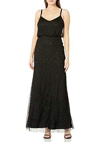 Adrianna Papell Women's Long Beaded Blouson Gown, Black, 4