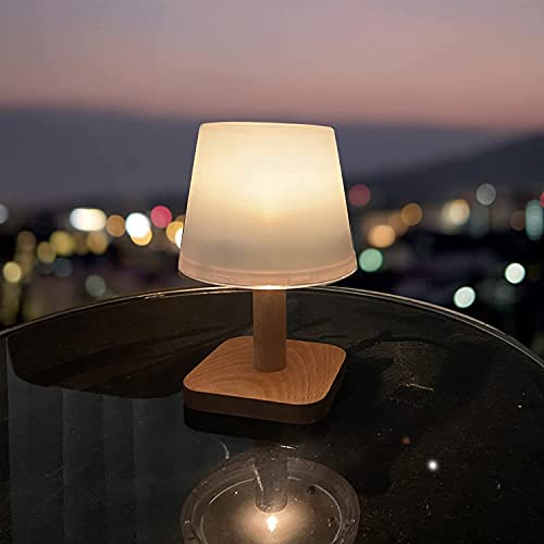 """pearlstar Outdoor Solar Table Lamp with Wood Base, 8""""H Small Patio Portable Table Light, Indoor Desk Lamp Warm Night Light, Auto ON/Off, (1pack)"""