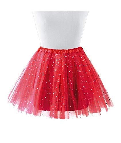 Cisne 2013, S.L. Tutu Falda para Mujer y niña. Falda para Ballet Color Rojo. Accesorio Baile Mini Falda Mujer. Tamaño 30cm, Plateado.