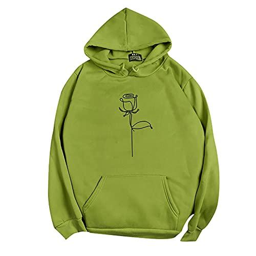 NAQUSHA Damen Pocket Hoodie Herbstmode Freizeit Langarm Bedruckt Einfarbig O-Neck Pullover Teenager Sweatshirts Weiche Warme Tops Bluse Pullover Oberteile(Grün,Small)