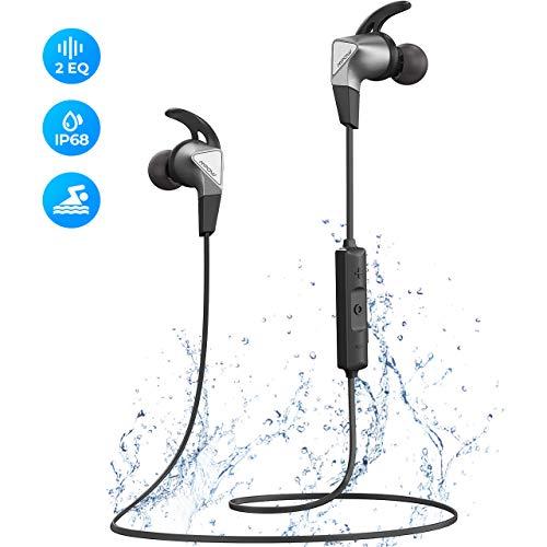 Mpow Fly Bluetooth Kopfhörer In Ear, Sport Kopfhörer mit IP68 Wasserdicht zum Schwimmen/ Joggen/ Laufen, Bluetooth 5.0/ 12 Std. Spielzeit/ Dual EQ, HD-Mikrofon für iPhone Android