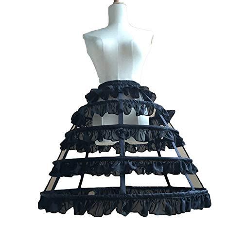 LIUWEI enaguas Falda huesada de acero largo dulce Hoop enagua con volantes (Color : Black)
