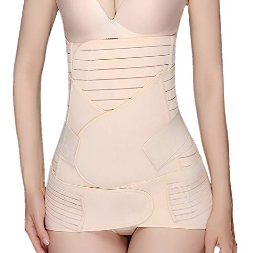 Postpartum Belly Band, 3 in 1 Recovery Belly Belt Wrap/Waist Shapewear Slimming Girdle Support Band Body Shaper for Postnatal, Maternity, Women, Beige M