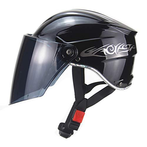 OLEEKA Casco de Moto Cascos Casco de Motocicleta Medio Casco Plegable Casco Modular Bicicleta Vehículo eléctrico Engranajes Protectores Unisex