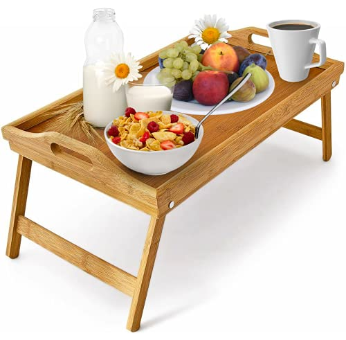 Klass Home Large Bamboo Bed Tray | Breakfast Tray | Bed Tray with Folding Legs | Breakfast in Bed Tray | Lap Tray Multipurpose Bed Desk & Tray Table/Folding Table Laptop Table Serving Tray with legs