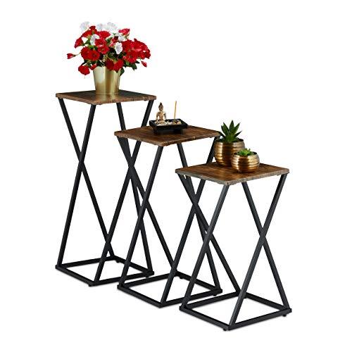 Relaxdays Pflanzenständer 3er Set, Blumensäule modern, Blumenständer Holzoptik & Metall, Blumenhocker, braun/schwarz, 3 Stück