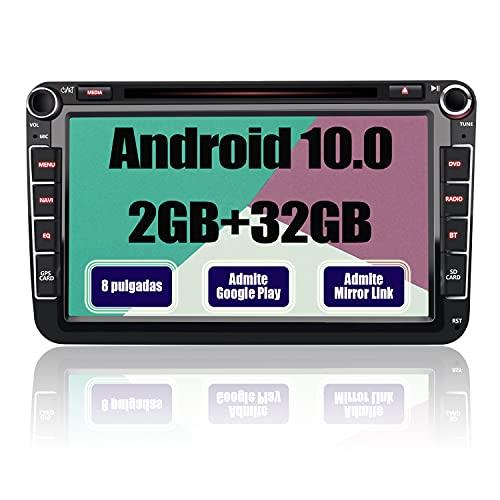 AWESAFE Android 10.0 [2GB+32GB] Radio Coche con Pantalla 2 DIN para VW, Autoradio para VW con WiFi/GPS/Bluetooth/RDS/CD DVD/USB/FM Am/SD/RCA, Admite Mandos del Volante y Aparcamiento