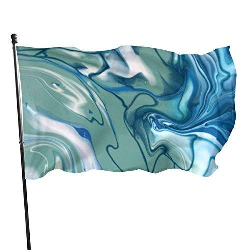 Bandera de jardín, color azul verde mármol, mezcla de colores vivos y resistentes a la decoloración UV, doble costura para patio, bandera de temporada, banderas de pared de 3 x 5 pies