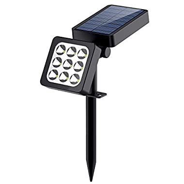 Solar Lights, 2-in-1 Solar Spotlights Landscape Light Solar Outdoor Bright Adjustable Wall Light Auto On/Off 9 LED Solar Powered Security Night Light for Patio Backyard Driveway Garden Lawn Pool (1)