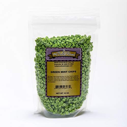 Green Mint Chips, Bulk Size, Baking Chips, (1 lb. Resealable Zip Lock Stand Up Bag)