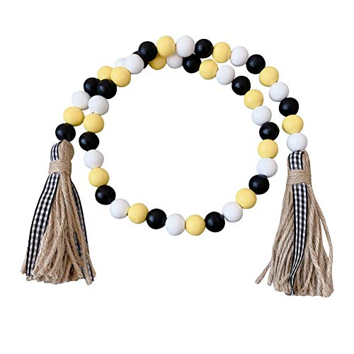 Anntool 36'' Christmas Wood Bead Garland Farmhouse Rustic Beads with Jute Tassles Winter Sugar Holiday Home Natural Country Décor