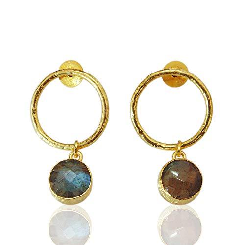 Bhagatjewels Gold Plated Labradorite Earrings, Open Circle Earrings, Round Gemstone Earrings, Elegant Earrings, Post Dangle Earrings, Unique Gift for Her