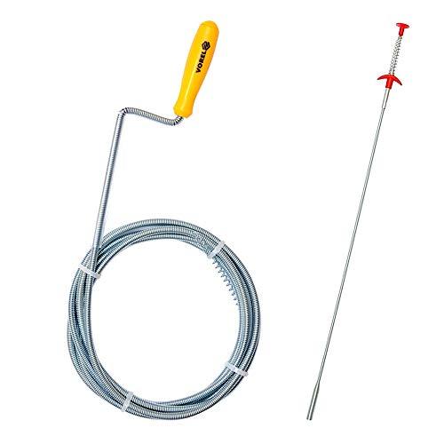 VOREL Desatascador tuberias profesional 3M x 0,6 cm| resorte limpiador de drenaje con garra + Herramienta de Recogida Flexible 4 garras, 600 mm