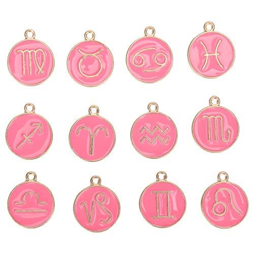 12 Uds colgante de constelaciones abalorio de constelaciones fabricación de joyas collar pulsera colgantes dijes 22x18mm(Rosa)