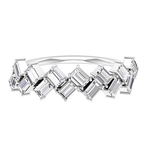 HI-SI 1,26 Karat Baguette Form Diamant Ring, Zickzack Ehering, Antik Hälfte Ewigkeit Ring, Brautjungfer Schichtring, Frauen Jahrestag Ring, 18K Weißes Gold, Size:EU 68