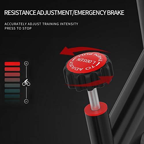 41FOsP9pfnL - SHUOQI Bicicleta estáticas para Fitness, Bici de Spinning, Calidad Profesional, Rueda de inercia bidireccional,Transmisión por Cadena Fija,Asiento Ajustable, Pantalla LCD