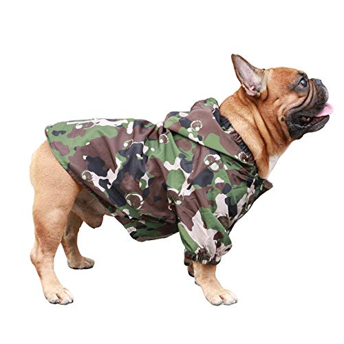 ICHOUE Dog Raincoat Lightweight Windbreaker Hooded Jacket for French bullodg Pug Boston Terrier Outdoor Water Resistant Coat - Camouflage/Size L