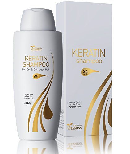 Vitamins Keratin Shampoo Hair Treatment - Protein and Argan Oil for Curly Wavy and Straight Hair - Sulfate Free Product for Color Treated and Dry Damaged Hair and Scalp