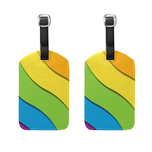 LGBT Luggage Tag Set of 2 Cruise Ship Suitcase Label Personalized Travel ID Bag Tag with Buckle Leather