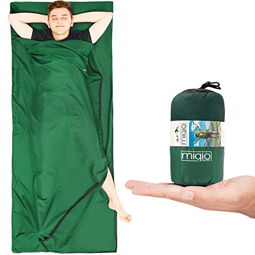 Miqio® 2in1 Hüttenschlafsack mit durchgängigem Reißverschluss (Links oder rechts): Leichter Komfort Reiseschlafsack und XL Reisedecke in Einem - Sommer Schlafsack Innenschlafsack Inlett Inlay - Grün