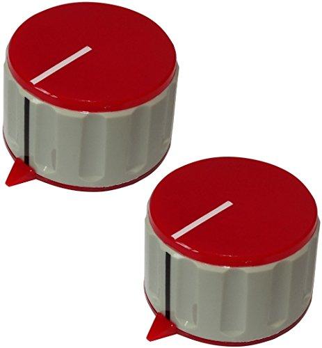 AERZETIX: 2X Botón para potenciómetro de Eje Lisa 6mm Ø36,7x21,8mm Gris y Rojo de ABS C12526