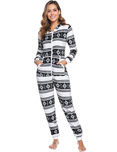 iClosam Dames Slaapoveralls Fleece Kerstmis Winter Onesie Jumpsuit