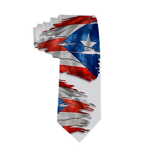 Web--ster Corbata clásica de negocios para hombre Corbata hecha andrajos con la bandera de Puerto Rico
