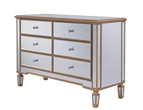 Elegant Decor 6 Drawer Dresser, 12345, Gold, Gold/