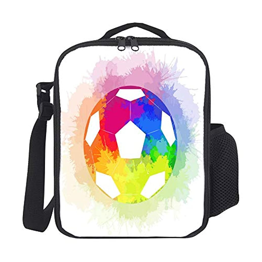 SARA NELL Kids Lunch Backpack Lunch Box Soccer Ball With Watercolor Rainbow Lunch Bag Large Lunch Boxes Cooler Meal Prep Lunch Tote With Shoulder Strap For Boys Girls Teens