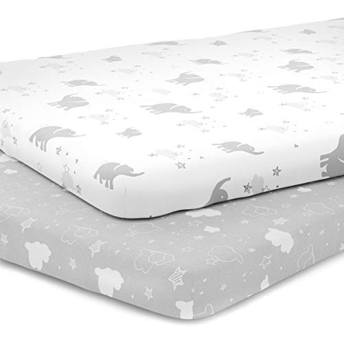 Pack n Play Playard Sheet Set - Portable Mini Crib Mattress Pad Sheets - Convertible Mattress Cover - Stretchy Fitted Jersey Cotton Will Fit Any Playard Size - Unisex - Elephants, Stars, Clouds
