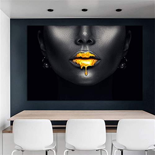 Labio Dorado Tamaño Grande Negro África Arte Pintura Imágenes para Vivir La decoración Moderna del hogar Lienzo Impresiones de Pared Carteles (70x140cm) Sin Marco